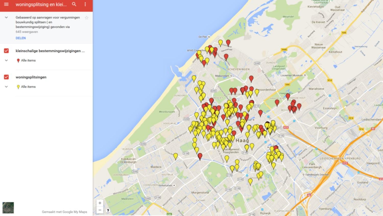 Kaart met aantal gesplitste woningen