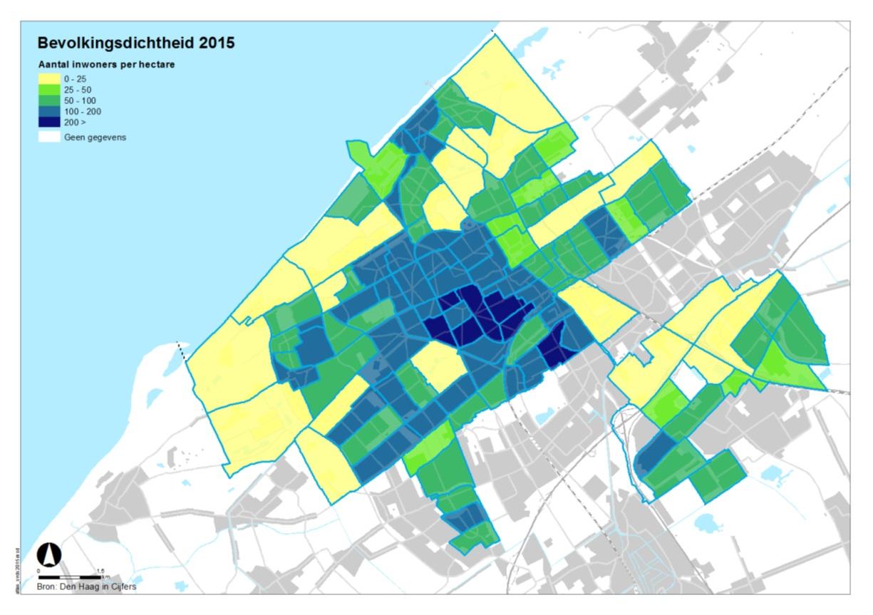 kaart bevolkingsdichtheid in de wijken