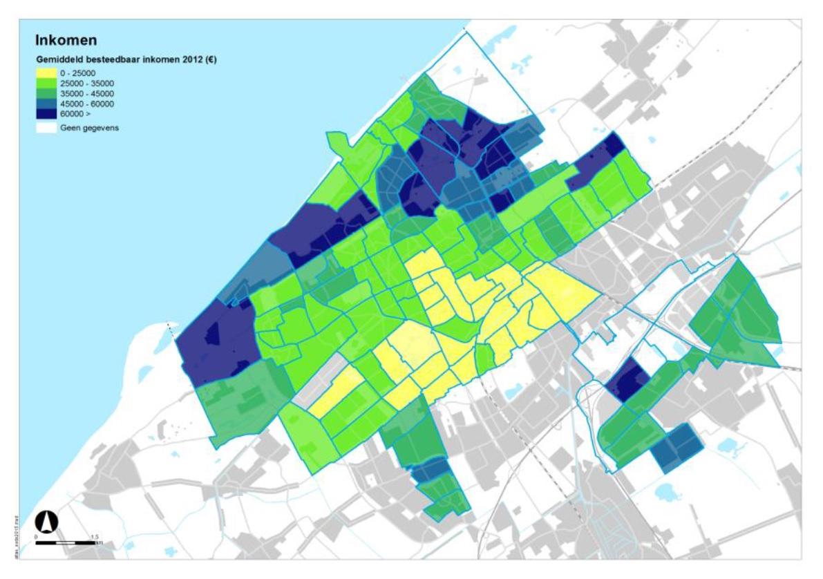 Kaart gemiddeld besteedbaar inkomen in wijken