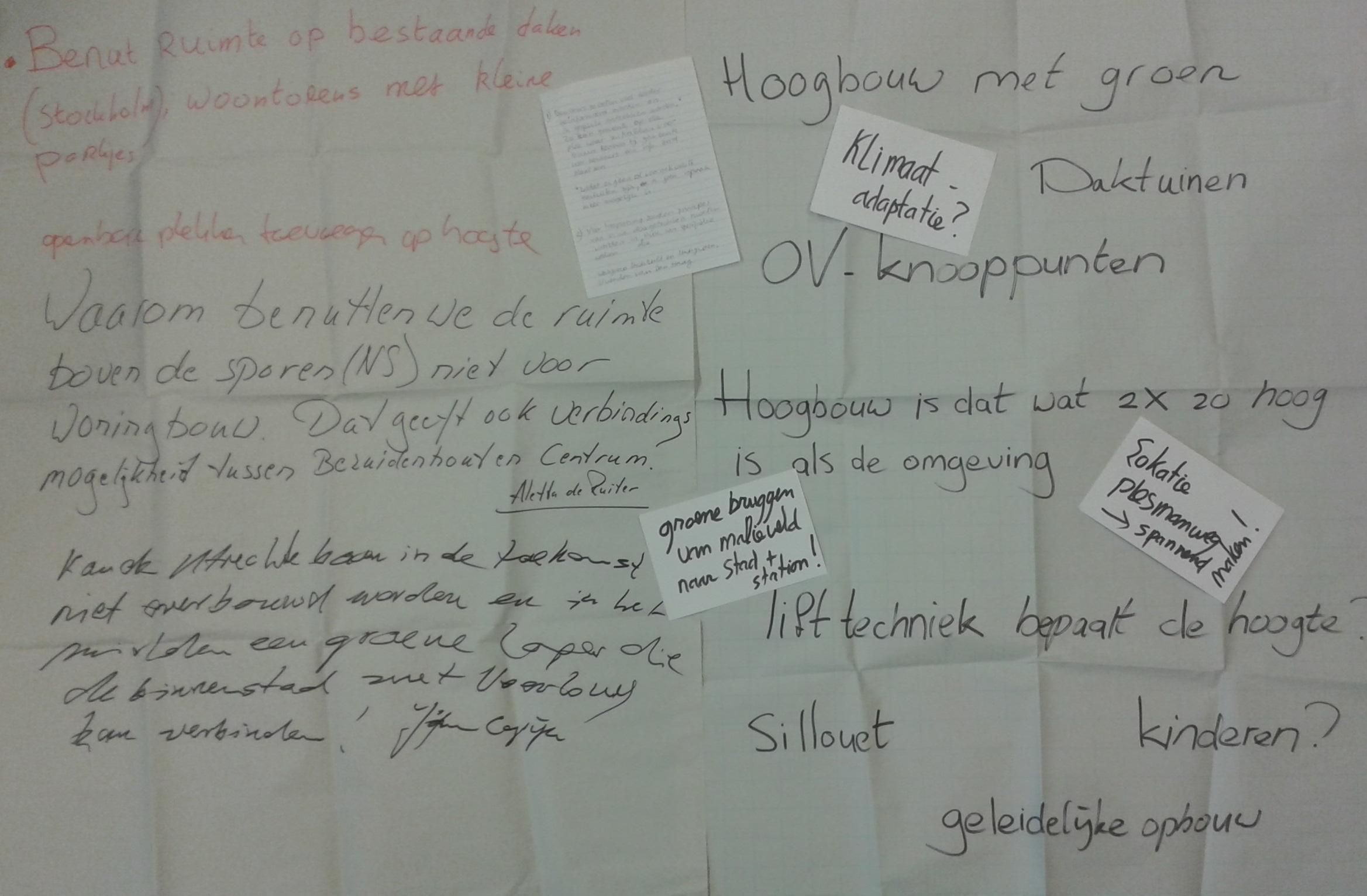 opmerkingen over hoogbouw door deelnemers STAD gesprek