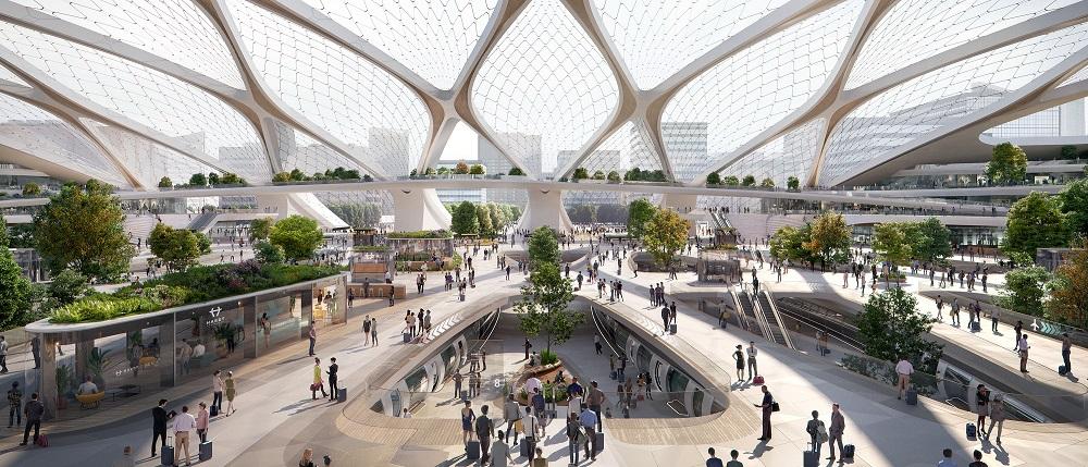 toekomstvisie hyperloopstation voor CID den haag UNstudio
