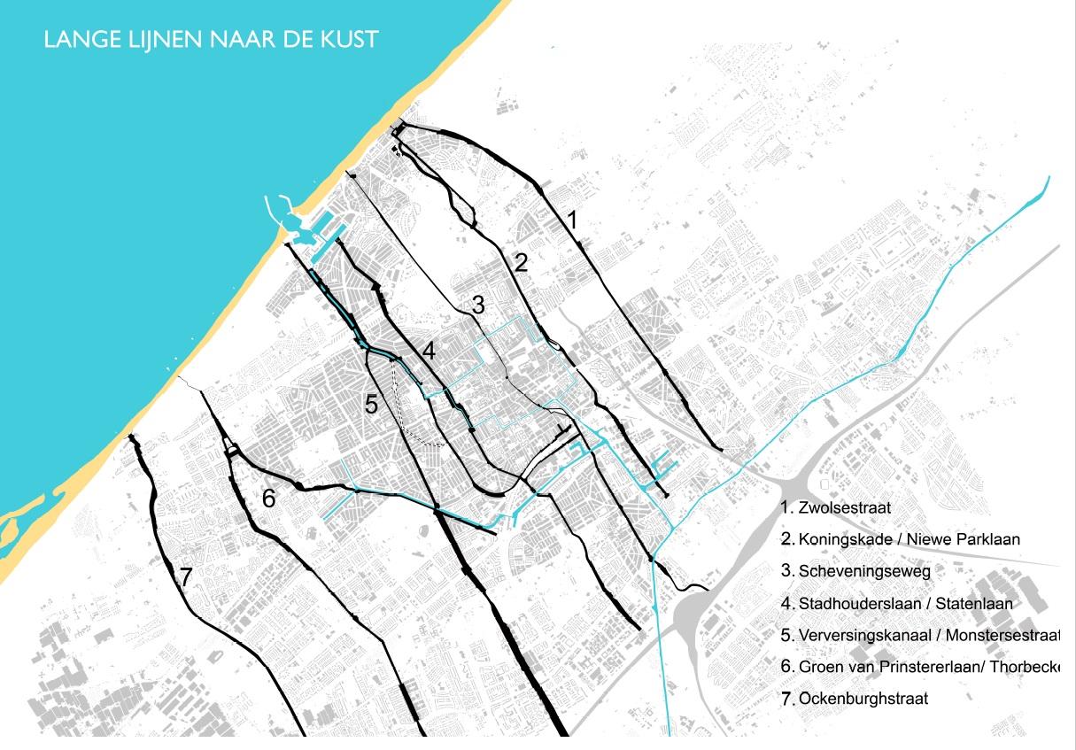 kaart met routes naar zee in Den Haag