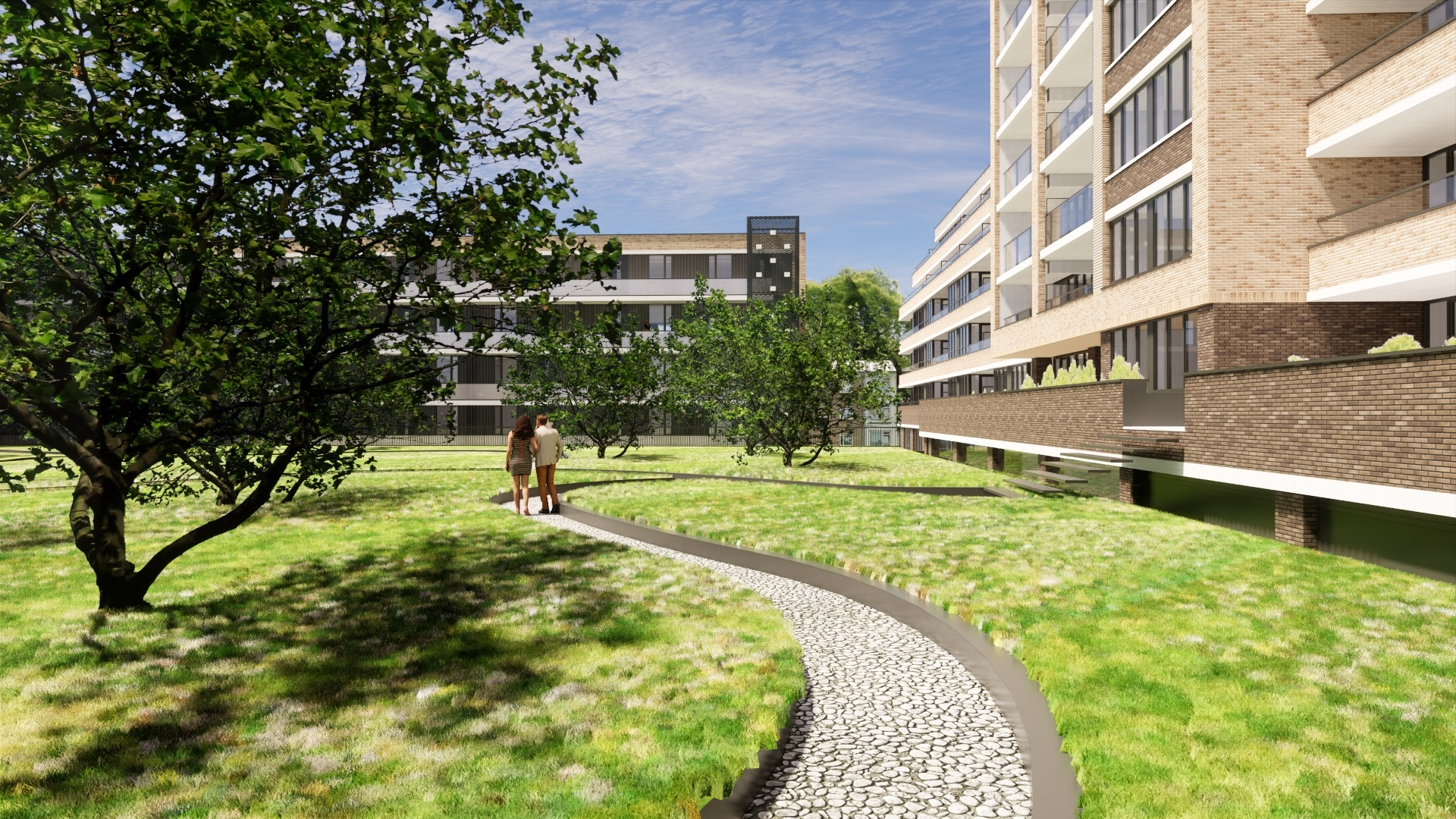 groen dak op parkeergarage van levels
