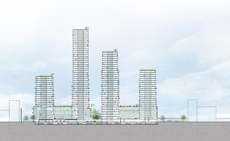 doorsnede met hoogbouw torens project anna