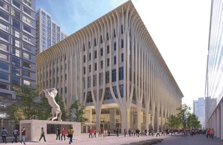 Het-nieuwe-cultuurcomplex-in-Den-Haag-gezien-vanaf-de-Turfmarkt-Afbeelding-gemeente-Den-Haag
